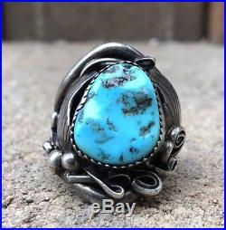 HUGE Old Navajo Sterling Silver Sleeping Beauty Turquoise Men's Ring