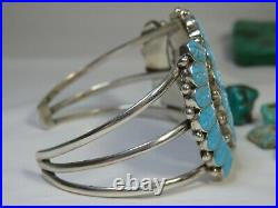 Hand Carved SLEEPING BEAUTY TURQUOISE STERLING Silver Sun/God CUFF Bracelet