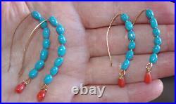 Handmade 14k Gf Az Sleeping Beauty Turquoise Semi Hoop Earrings W Drop Corals