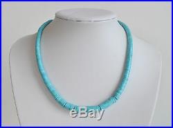 Handmade GRADUATED HEISHI Sleeping Beauty Turquoise Southwest NECKLACE
