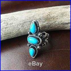 Handmade Sterling Cluster Natural Sleeping Beauty Turquoise Navajo Ring Size 6