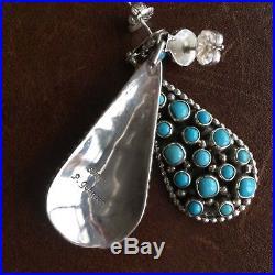 Handmade Sterling Silver Mini Clustered Sleeping Beauty Teardrop Earrings
