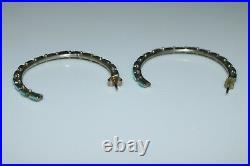 Handmade Zuni Indian Sleeping Beauty Turquoise Hoop Earrings