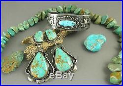 Harvey Era Old Double HAPPY Dogs Sleeping Beauty Turquoise Cuff Bracelet