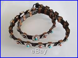 Hatband with Natural Sleeping Beauty Turquoise and Mediterranean Coral Handmade