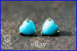 Heart Shaped Natural Sleeping Beauty Turquoise Stud Earrings 14K Yellow Gold