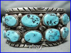 Heavy Vintage Navajo Sleeping Beauty Turquoise Sterling Silver Bracelet Old