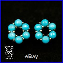 Hexagon Flower Design Sleeping Beauty Turquoise Stud Earrings 14K Yellow Gold