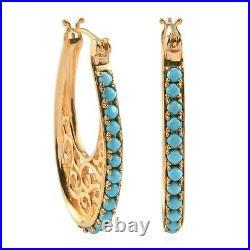 Hoop Hoops Earrings 925 Sterling Silver Sleeping Beauty Turquoise Gift Ct 1.9
