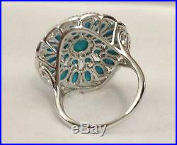 Hsn Heritage Gems Sleeping Beauty Turquoise Sterling Silver Cluster Ring Size 7