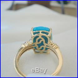 Huge 6.25ct Natural Unenhanced Sleeping Beauty Turquoise & Diamond Gold Ring