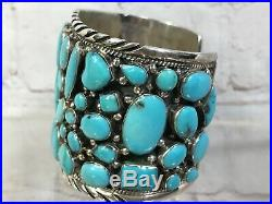 Huge Rare Navajo Cluster Sleeping Beauty Turquoise SW Sterling Cuff Bracelet