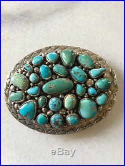 Huge Turquoise Sterling Silver Belt Buckle, Rare Kingman and Sleeping Beauty