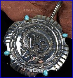 Huge Vintage Old Pawn Navajo Sleeping Beauty Turquoise Gemstone Sterling Pendant