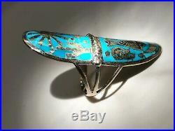 Huge long genuine turquoise Ladies ring Sleeping beauty Sterling 2 sz 10 Beauti