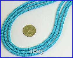 IGI certified 5.2MM Sleeping Beauty Turquoise Wheel Rondelles 15.8 inch strand