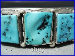 Important Vintage Navajo 7 Sleeping Beauty Turquoise Sterling Silver Bracelet
