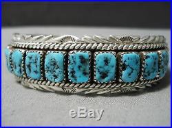 Impressive Vintage Navajo Sleeping Beauty Turquoise Sterling Silver Bracelet Old