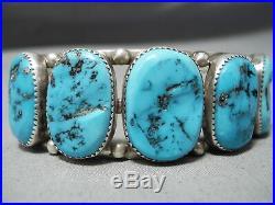 Incredible Vintage Navajo Sleeping Beauty Turquoise Sterling Silver Bracelet Old