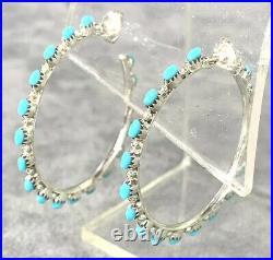 J Kallestewa Sleeping Beauty Turquoise Petit Point Hoop Earrings Sterling Zuni