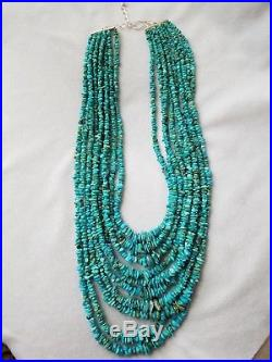 JAY KING MINE FINDS SLEEPING BEAUTY TURQUOISE 10 Strand STERLING NECKLACE 28
