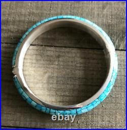 JAY KING Sleeping Beauty Turquoise Micro Inlay Bangle Bracelet Sterling Silver
