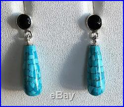 JAY KING Sleeping Beauty Turquoise Mosaic & Black Agate Earrings Sterling Silver