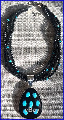 JAY KING Sleeping Beauty Turquoise & Obsidian Pendant Necklace Sterling Silver