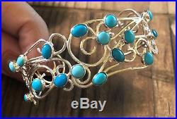JAY KING Sleeping Beauty Turquoise Scroll Desgin Cuff Bracelet, Sterling Silver