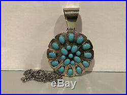 Jay King DTR Sterling Silver Necklace Sleeping Beauty Turquoise Round Pendant