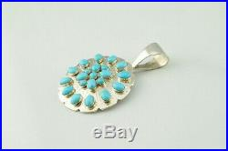 Jay King DTR Sterling Silver Sleeping Beauty Turquoise Cluster Round Pendant