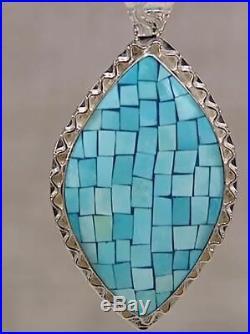 Jay King Sleeping Beauty Turquoise Inlay Pendant & 18 2 Strand Necklace NWT