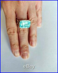 Jay King Sleeping Beauty Turquoise Mosaic Inlay Sterling Silver Ring Size 6 NWT