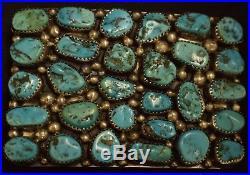 Jerry Roan Sterling Silver Sleeping Beauty Turquoise Cluster Belt Buckle
