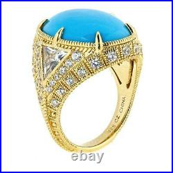 Judith Ripka 925 St Silver Gold plated Sleeping Beauty Turquoise CZ Ring Size 7