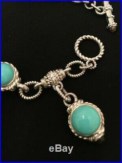 Judith Ripka SLEEPING BEAUTY Turquoise Bracelet Citrine Toggle 36g. 925