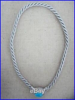 Judith Ripka Sleeping Beauty Turquoise 925 Enhancer Gray Silk Cord Necklace DS