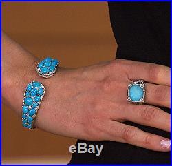 Judith Ripka Sleeping Beauty Turquoise + Diamonique Cuff Bracelet (Average) New