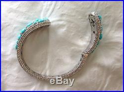 Judith Ripka Ss Sleeping Beauty Turquoise & Diamonique Cuff, Avg (m310-47)