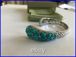 Judith Ripka Sterling Sleeping Beauty Turquoise & Diamonique Cuff size S Hinged