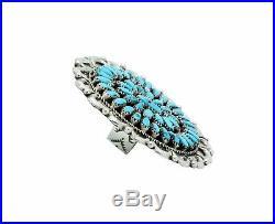 Juspert Wilson, Ring, Sleeping Beauty Turquoise, Cluster, Navajo Handmade, 7.5