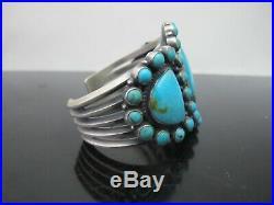 KIRK SMITH Sterling Silver SLEEPING BEAUTY Turquoise Navajo Hefty Cuff Bracelet