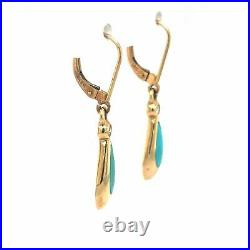 Kabana Sleeping Beauty Turquoise and Diamond Drop Earrings 14k Yellow Gold