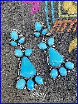 Kingman & Sleeping Beauty Turquoise Cluster Earrings By Navajo Artist Emma Largo