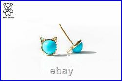 Kitty Cat Ears Sleeping Beauty Turquoise Stud Earrings 18k Yellow Gold