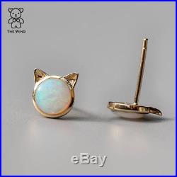 Kitty Cat Ears Sleeping Beauty Turquoise Stud Earrings 18k Yellow Gold Fox Ears