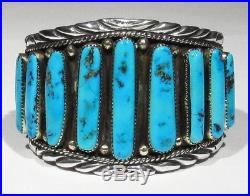 LARGE Signed Navajo Sleeping Beauty Turquoise 137g 925 Silver Mans Cuff Bracelet