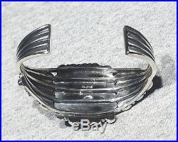 LARGE Signed Zuni 54g 925 Silver Sleeping Beauty Turquoise Mans Cuff Bracelet