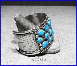 LARGE Vintage Signed Navajo 925 Silver Sleeping Beauty Turquoise Mans Bracelet