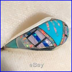 Ladies Mexican Fire Opal Ring 6 Sterling Silver 925 Sleeping Beauty Turquoise